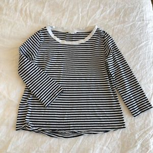 COS navy + white stripes long sleeve top